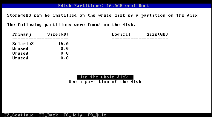 install use whole disk