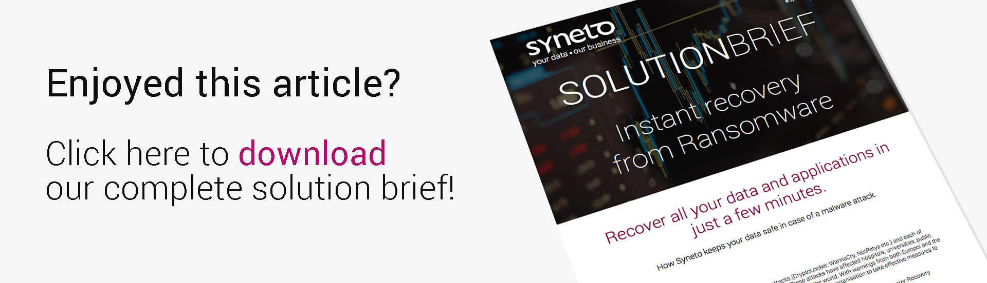 Syneto solution to ransomware solution brief
